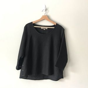 FLAX Linen Shirt Blouse Top Solid Black S